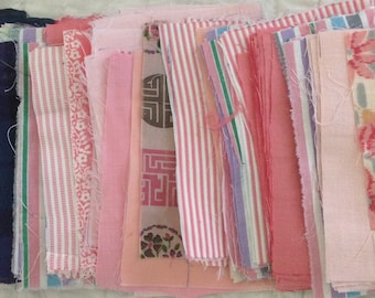 "Vintage 3 1/2"" x 5 1/2"" pink/purple rectangle fabric pieces for repurposing - 8 ounces - various cotton types"