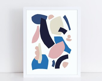 Abstract art print, abstract wall art, colorful wall art, scandinavian print, contemporary art, collage art, blue, blush, navy, illustration