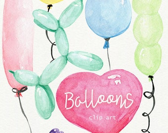 Watercolor Balloons - hand painted watercolor clipart: high resolution, 9 separate PNG files, 600 dpi + 2 digital papers, DIY cards