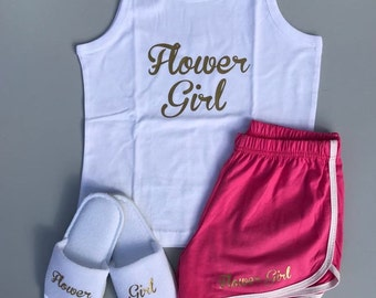 Flower girl Pajamas, flower girl shorts, flower girl t-shirt, pink pajamas, personalised shorts, flower girl pjs, Girls pajamas