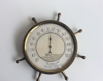 Vintage Thermometer, Temperature Gauge, Ship Wheel
