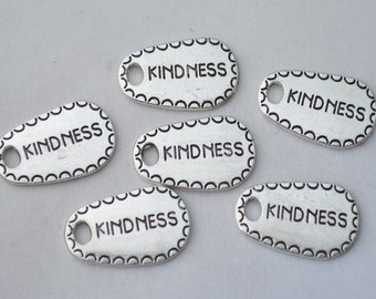 4 Pcs Kindness Charms Antique Silver Tone 15x25mm - YD1472