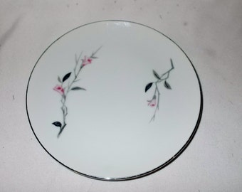 Cherry Blossom Bread Plate Fine China Japan Four Vintage Bread Butter Plates Platinum Trim Porcelain Replacement China Dinnerware