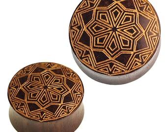 Wood plug star pattern Sonoholz dark brown golden engraving (No. HPT-403)