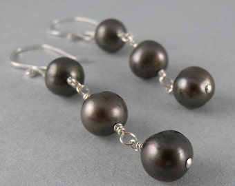 Slate Gray Pearl Earrings with Free USA Shipping