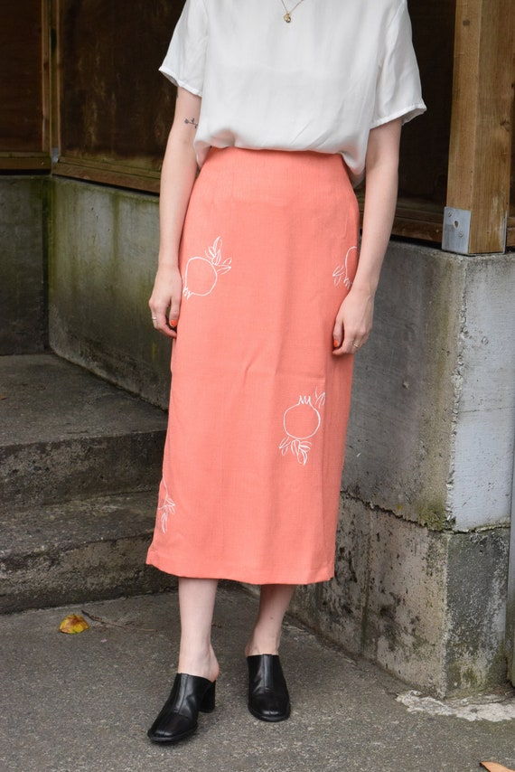 Rodie Coral Pencil Skirt.