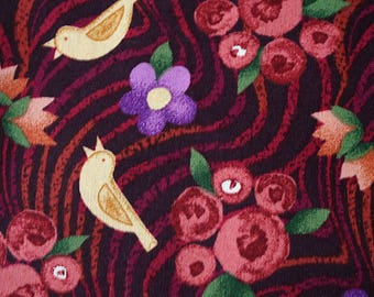 """""""Bird Song"""" by Elaine Walschmitt Patchwork fabric cotton flowers and birds - for sewing, patchwork, scrapbooking, fashion accessories"""