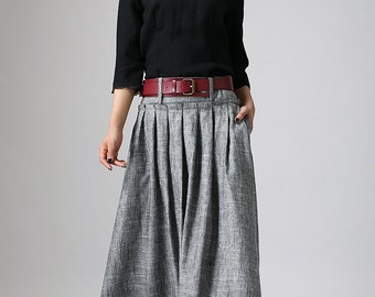 Grey Maxi Skirt - Long Linen Skirt - Pleat Skirt-Woman Skirt-Pleat Maxi Skirt-Full Skirt-Summer Skirt-Long Linen Skirt-Skirt 911