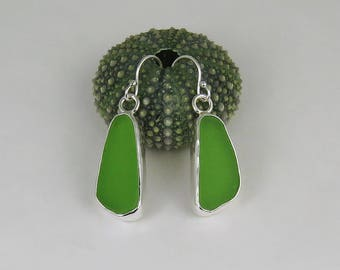 Lime Green Sea Glass Bezel Earrings Maine