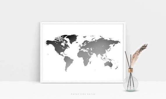 Grey world map print minimalist world map printable black grey world map print minimalist world map printable black and white map of the world modern world map poster world map digital download gumiabroncs Image collections
