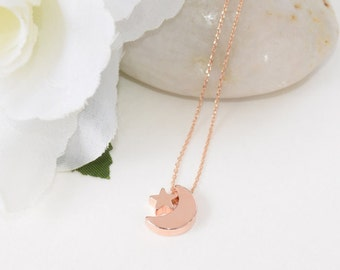 Rose Gold Necklace, Rose Gold Jewelry, Crescent Moon and Star Necklace