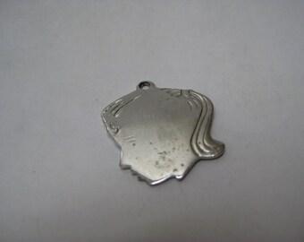 Girl Sterling Silver Charm Blank Vintage 925