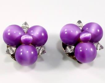 Vintage Purple Lisner Cluster Earrings, 1950s Earrings, Signed Lisner Earrings, Clip Earrings, Vintage Earrings, Moonstone Glass Earrings