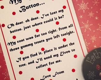 SALE, Santa's Missing Button, Christmas Button, Father Christmas Missing Button, Santas Lost Button, Christmas Lost Button