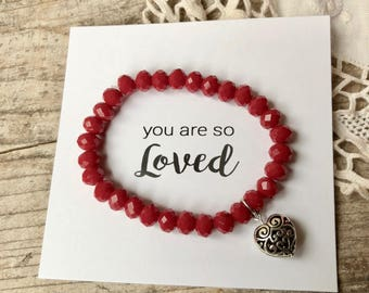 Red beaded bracelet with filigree heart - - you are loved -  beaded bracelets - bracelet stack - stackable - Love Squared Designs