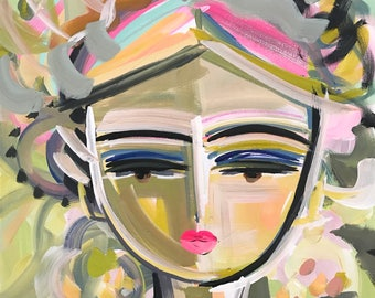 Warrior Girl Print woman art impressionist modern abstract girl paper or canvas Famke