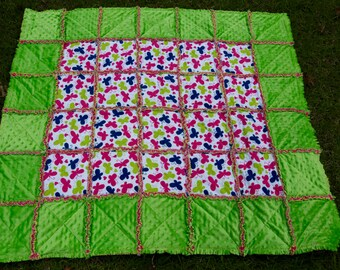 Pink, Blue, Green Butterfly Minky & Flannel Rag Quilt 50x44
