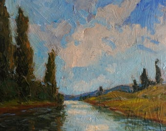 Original Oil Painting, River reflection, impressionist, Italy Europe fine art, landscape, Francesco Sessa