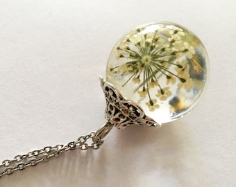 Orb Necklace: White Queen Anne's Lace suspended within a Clear Resin Sphere, Resin Pendant, Pressed Flowers, Resin Jewelry