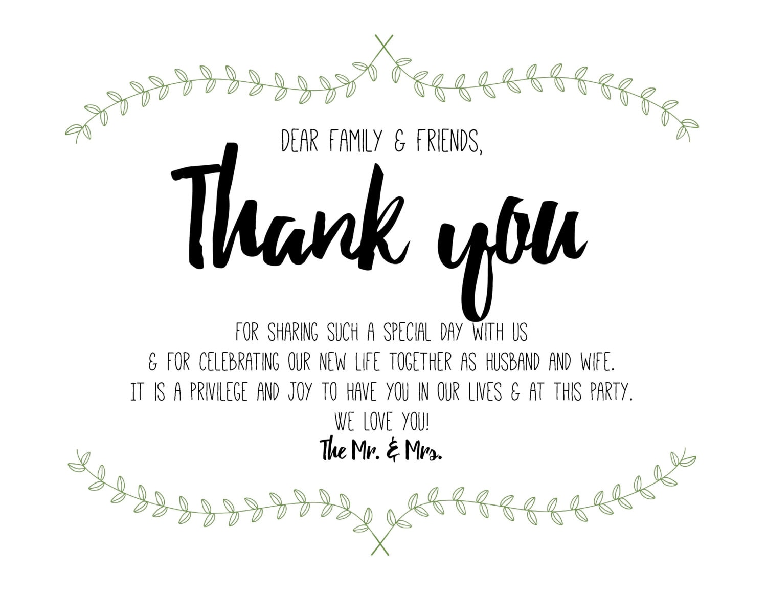 Short Sweet Wedding Thank You Note Printable Digital