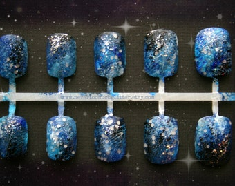 Blue or Purple Galaxy Nails  | Galaxy Press On Nails | Short Fake Nails | Galactic Space Nails | Handpainted Designer Nails