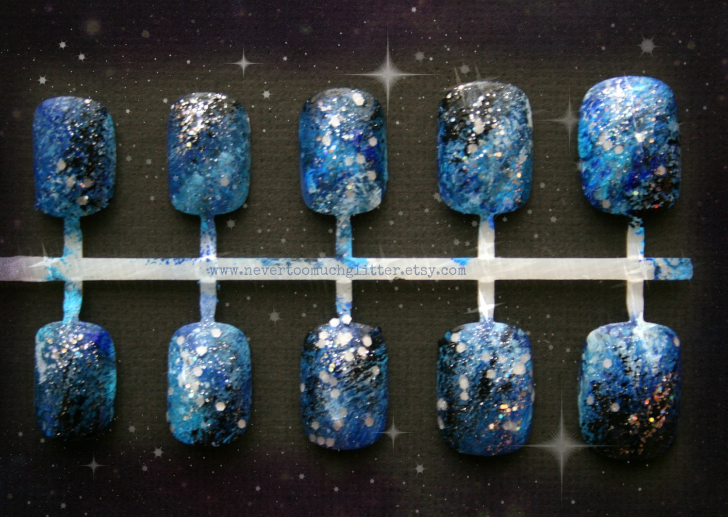 Blue or Purple Galaxy Nails | Galaxy Press On Nails | Short Fake ...