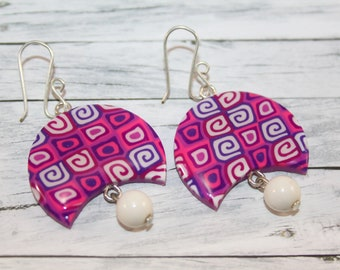Purple crescent earrings