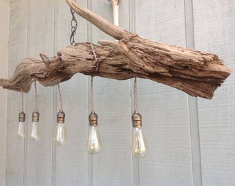 Driftwood Chandelier/ Table Light ,Lakeside Mountain Retreat ,Rustic Chic