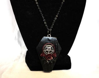 Gothic Coffin Necklace- Polymer Clay Necklace- Baphomet Necklace