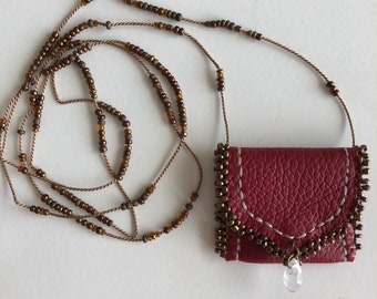 Genuine leather AMULET pouch necklace with crystal point, glass beads  HAND-SEWN