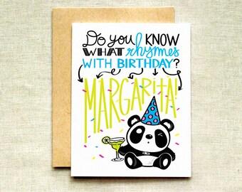Panda Birthday Card, Margarita Birthday Card, Best Friend Birthday Card, Funny Birthday Card