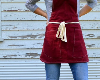 SALE Canvas Utility Shortie Apron Made to Order 7-10 business days processing time