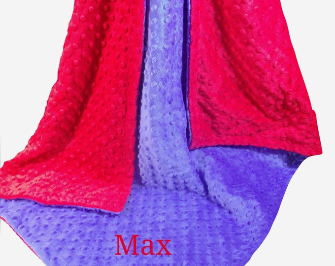 Boy's Red and Royal Blue Minky Dot Baby Blanket, Deep Royal Blue and Red Minky Dot Blanket, , in three sizes