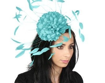 Margeaux Turquoise Fascinator Hat for Weddings, Races, and Special Events With Headband