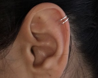 Double ear cuff in sterling silver, yellow or rose gold filled wire