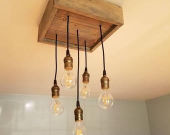 Rustic Pendant Light Box Chandelier