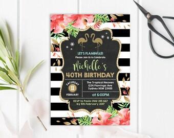 FLAMINGO Birthday Invitation. 21st 30th 40th 50th Woman Birthday Invite. Tropical Pool Party Invite Gold Glitter Summer Luau. ANY AGE. FLA2