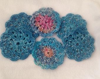 Crochet Doily Coasters, set of 6