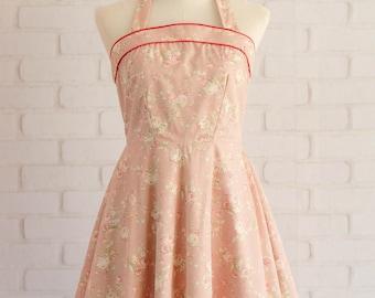 pink bridesmaid dresses floral bridesmaid dresses halter party dress Floral dress pink dress floral party dress halter dress