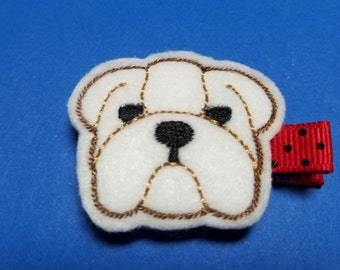 Bulldog II - Felt Hair Clip - For Infant Toddler Girl