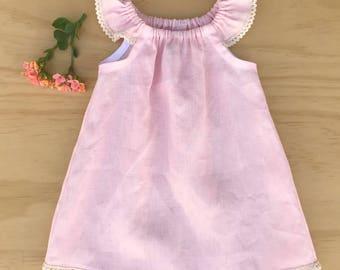 Baby girl dress, Pink toddler dress, Baby pink linen dress, Girls linen dress, Baby dress, Girls dresses, Toddler linen dress, Linen dress
