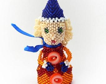 Beaded figurine Little female gnome - cute seed bead doll - finger toy - christmas ornament - gift idea - blue, red & orange dwarf miniature