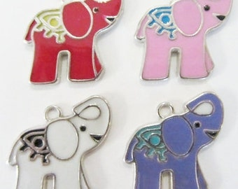 Set of 4 Enamel Elephant charms