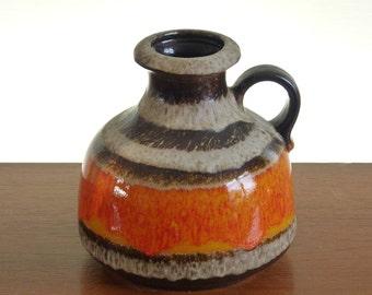 Bright orange fat-lava bud vase, Scheurich Keramik, W.Germany ceramics