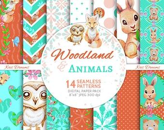 "Woodland & Animals Digital Paper Instant Download Owl Fox Rabbit Bear High Quality 8""x8"""