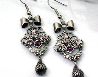 Victorian Earrings Antique Earrings Romantic Earrings Filigree Earrings Art deco Earrings Drop Amethyst Silver Earrings Art Nouveau Earrings