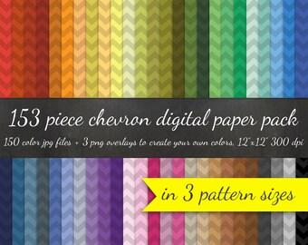 80% OFF SALE Chevron Digital Paper Pack - 3 Chevron Pattern Sizes 50 Colors Each + 3 Chevron Overlays - 153 pc Digital Scrapbook Paper