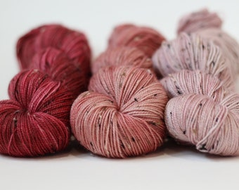 Tweed Gradient set, handdyed yarn, SW merino, Barnsides Trio, 'Tweedy Sock' yarn