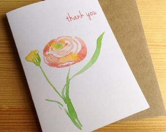 Orange Ranunculus Watercolor Thank You Note Cards - Floral Thank You Cards - Garden Flower Cards - Abstract Botanical Note Cards - Set of 6