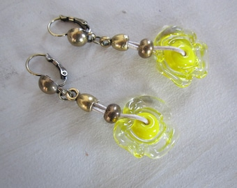 Lampwork, yellow and bronze glass bead earrings